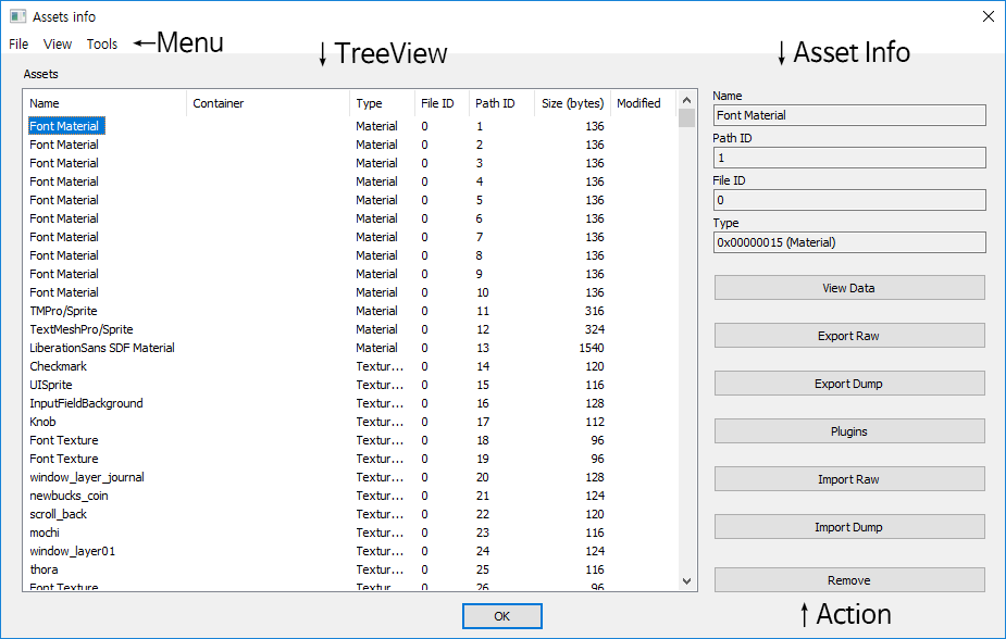 Assets Info window. Above, Menu bar is. There are 'File', 'View', 'Tools'. Left, TreeView including many asset. Columns are 'Name', 'Container', 'Type', 'File ID', 'Path ID', 'Size (bytes)', 'Modified'. Right above, Asset Info is. 'Name', 'Path ID', 'File ID', and 'Type' show in label. Right bottom, Action buttons is. 'View Data', 'Export Raw', 'Export Dump', 'Plugins', 'Import Raw', 'Import Dump', and 'Remove'.
