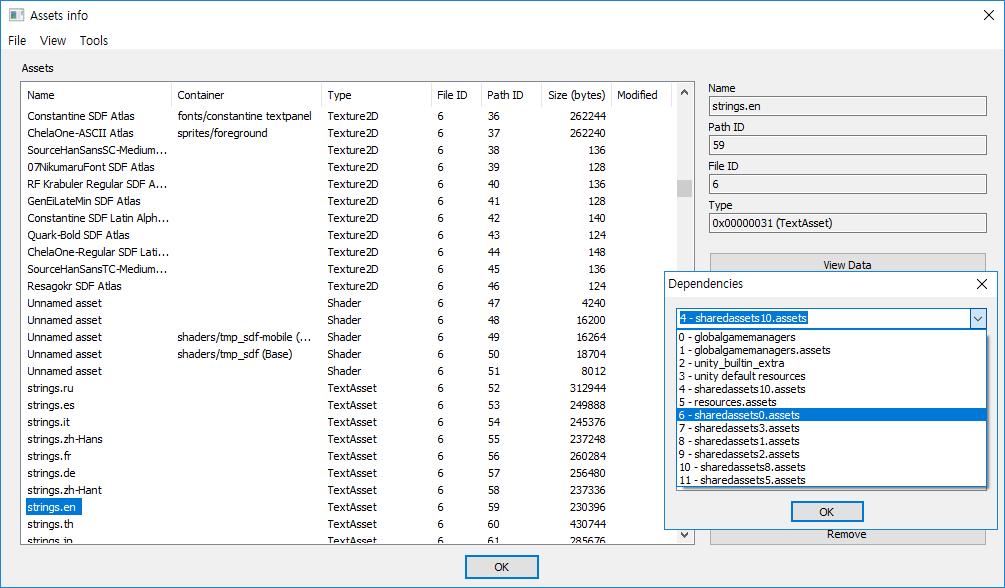 Cat Quest - Content of assets in 'sharedassets0.assets' after load globalgamemanager asset. 'strings.en' TextAsset' is.