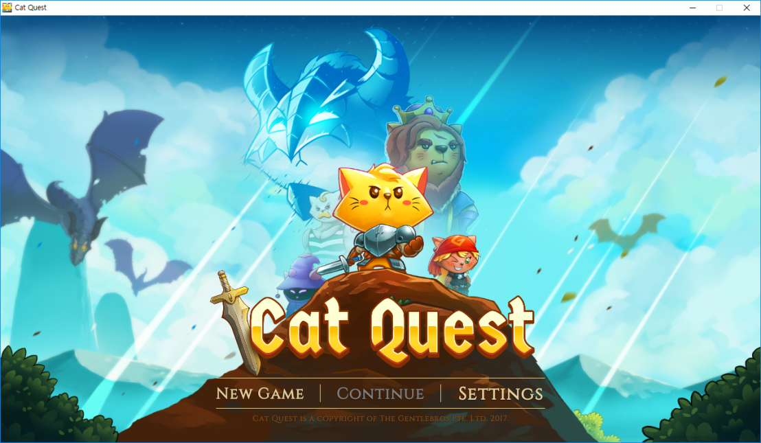 Cat Quest - Menu screen. There are 'NEW GAME', 'CONTINUE', 'SETTINGS' texts..png