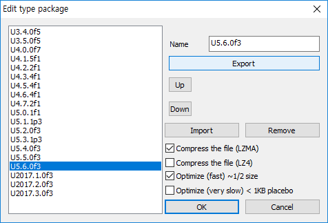 Select database in listbox at left of window, and Click 'Export' in 'Edit type package' window. I select 'U5.6.0f3'